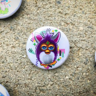 Pinback Button with a Furby on it